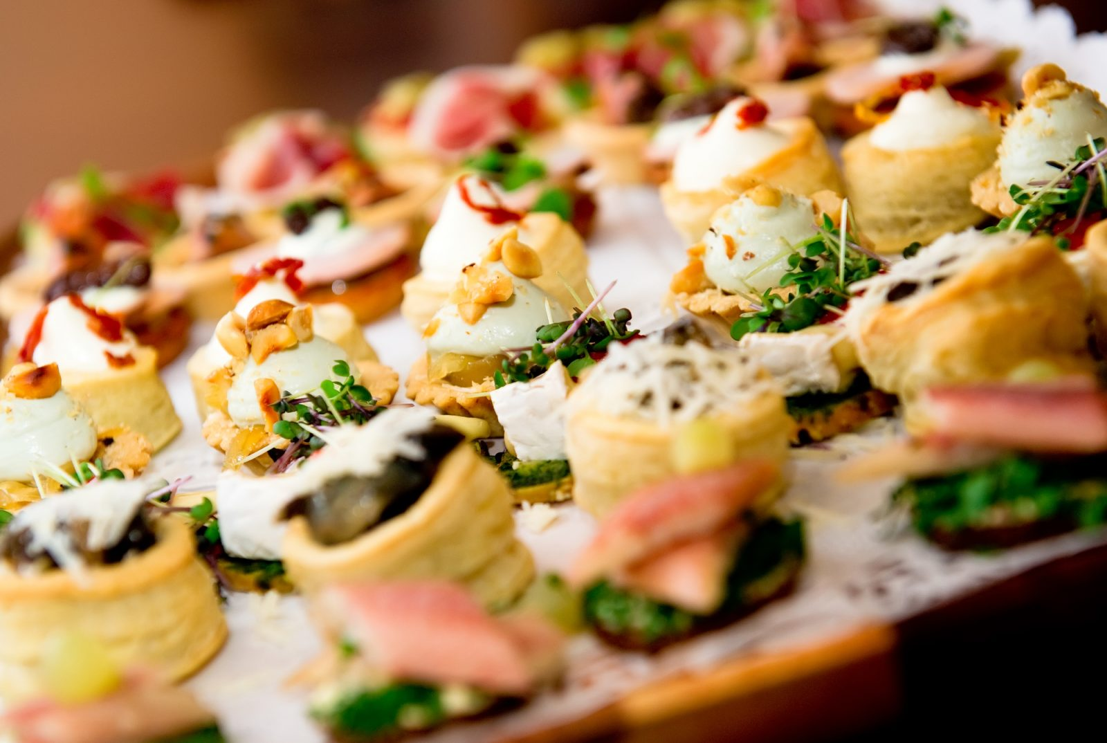 canapés at a networking event
