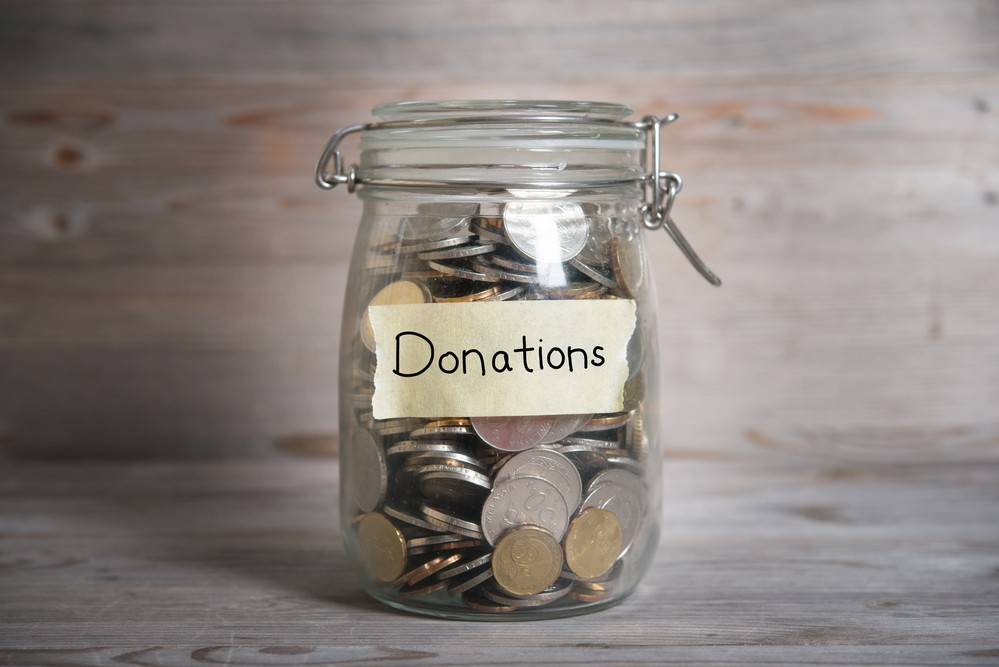 Money jar with donations