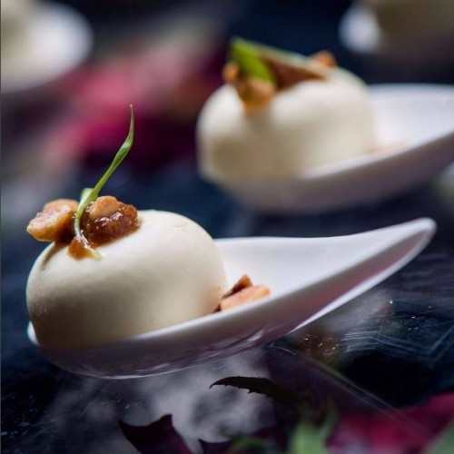 Fig & Goats Cheese Pannacotta with thyme & hazelnut crumbs - incredible food by our partner caterers Create Food and Party Design