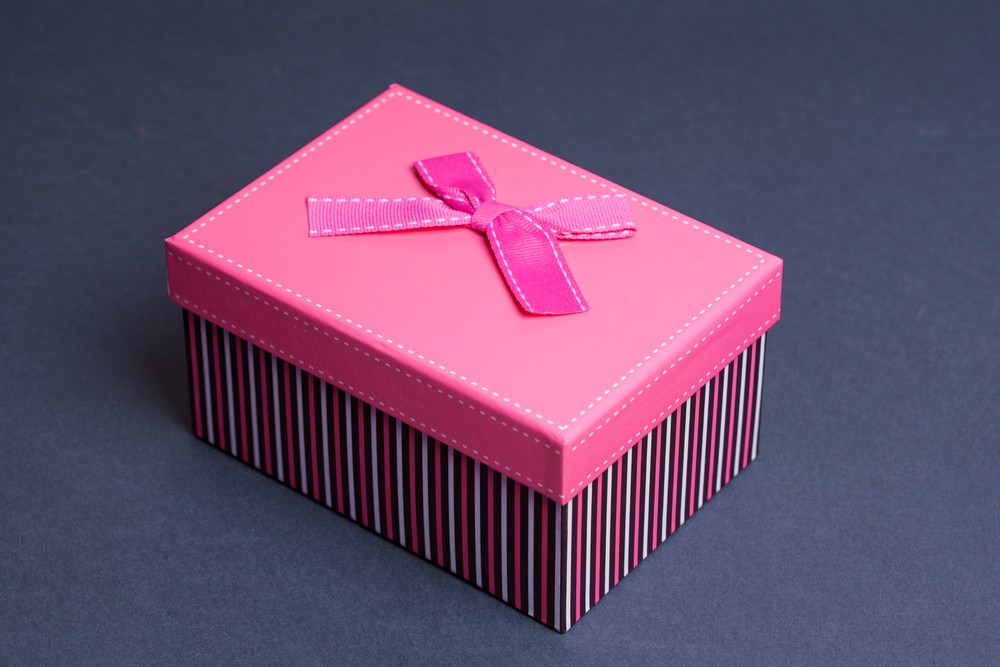 gift box on gray background